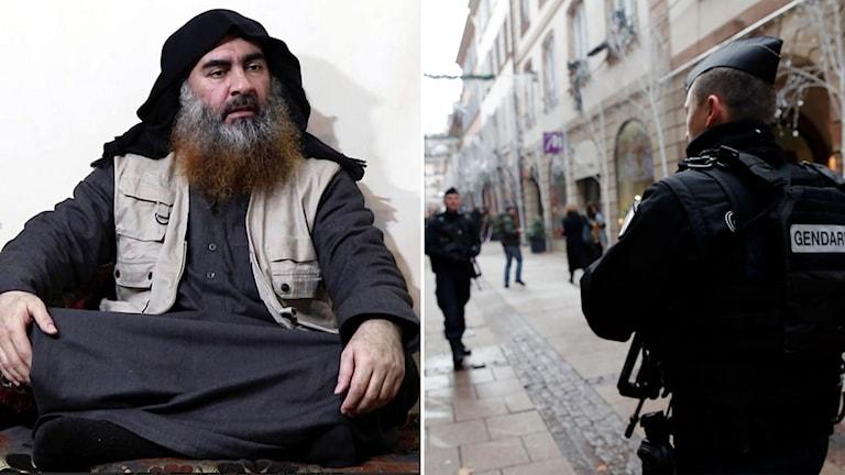 al-Baghdadi och bild på poliser i Frankrike