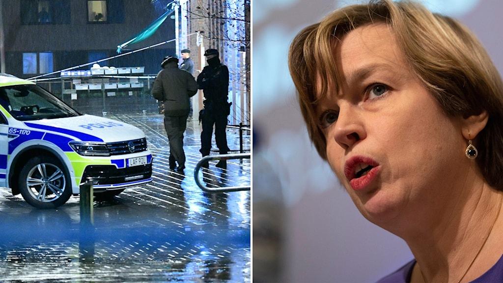 Bild från en brottsplats och Europols chef Catherine de Bolle.