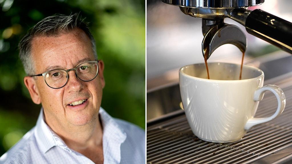 en man och en kopp kaffe