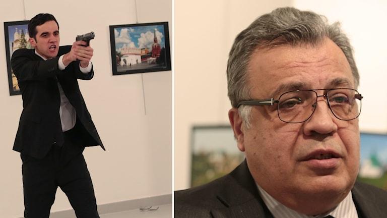 Tvådelad bild: Gärningsperson står med pistol i handen, Rysslands ambassadör talar på fotoutställningen