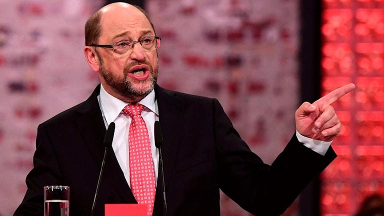 Martin Schulz vid Socialdemokraternas kongress.
