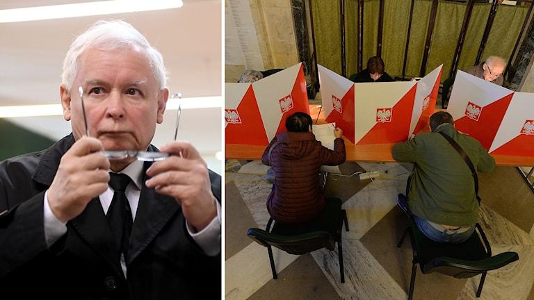 En man och röstningsbås. 1