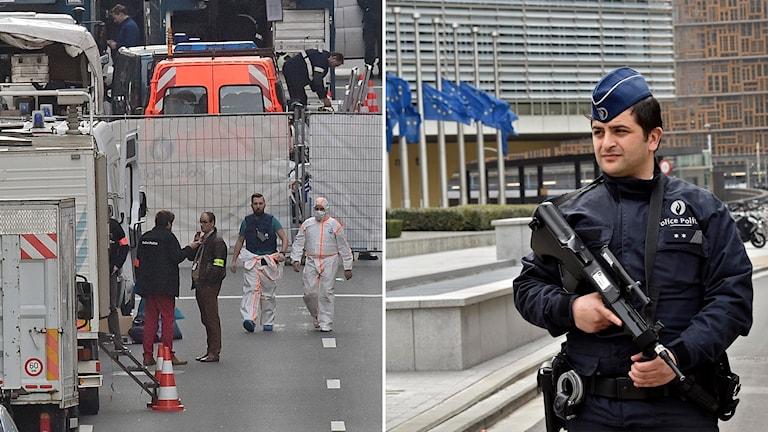 Delad bild: utredare vid terrorattack, polis i Bryssel.