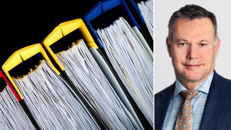 Bildkollage med pärmar och Justitieombudsman Stefan Holgersson