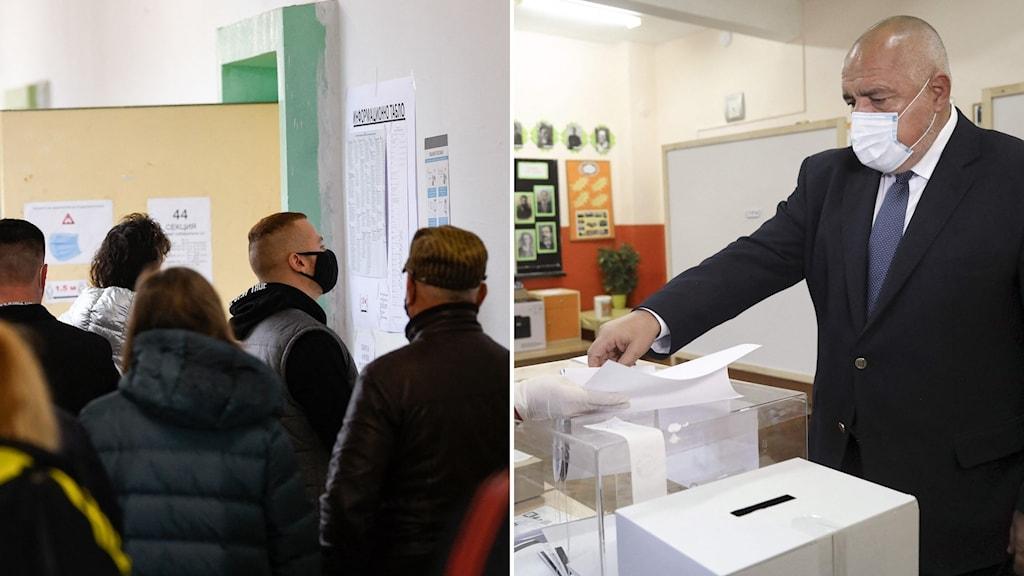 Människor köar för att få komma in och rösta (t.v) och premiärministern Boyko Borrissov lägger sin röst (t.h).