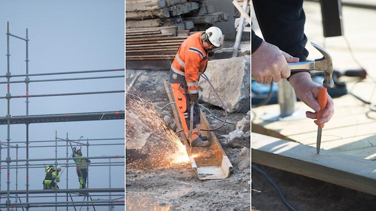 Tredelad bild: Byggnadsställning, skärbrännare och hammare och kniv på en byggarbetsplats.