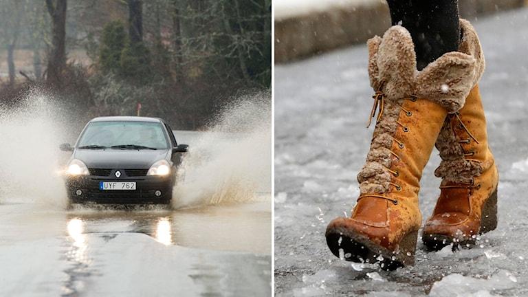 Delad bild: En bil kör genom en vattenpöl och kängor i slask.