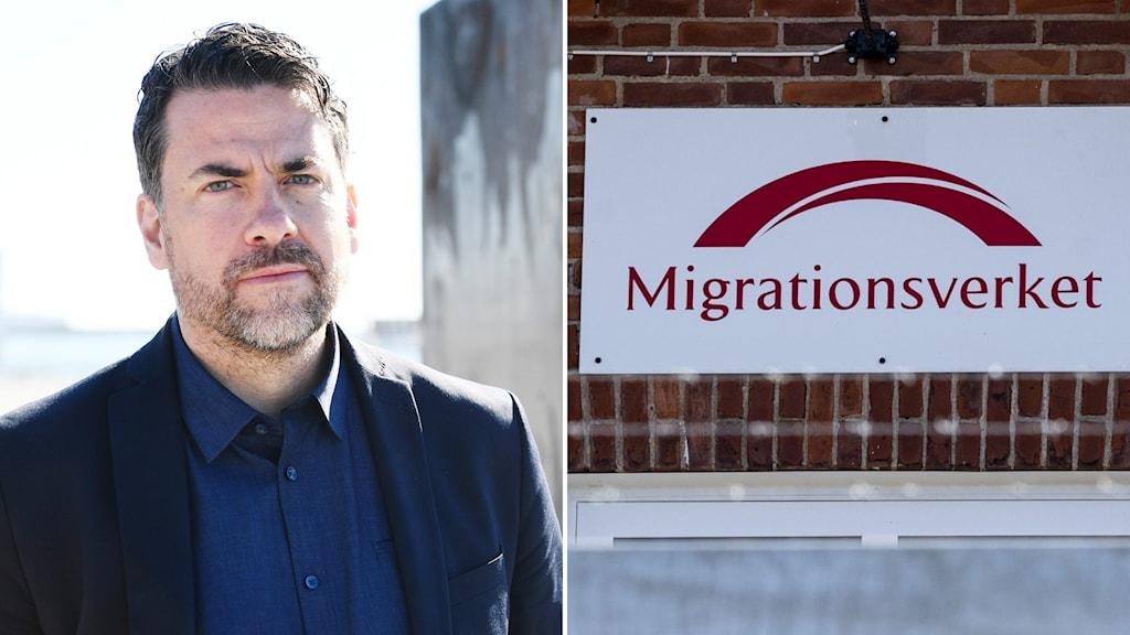 Migrationsverkets GD Mikael Ribbenvik/Skylt på Mirgationsverket.