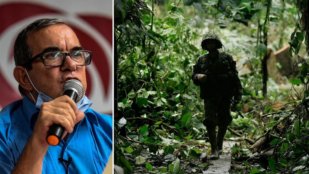 Delad bild: Man med munskydd, soldat som går genom en tropisk skog.