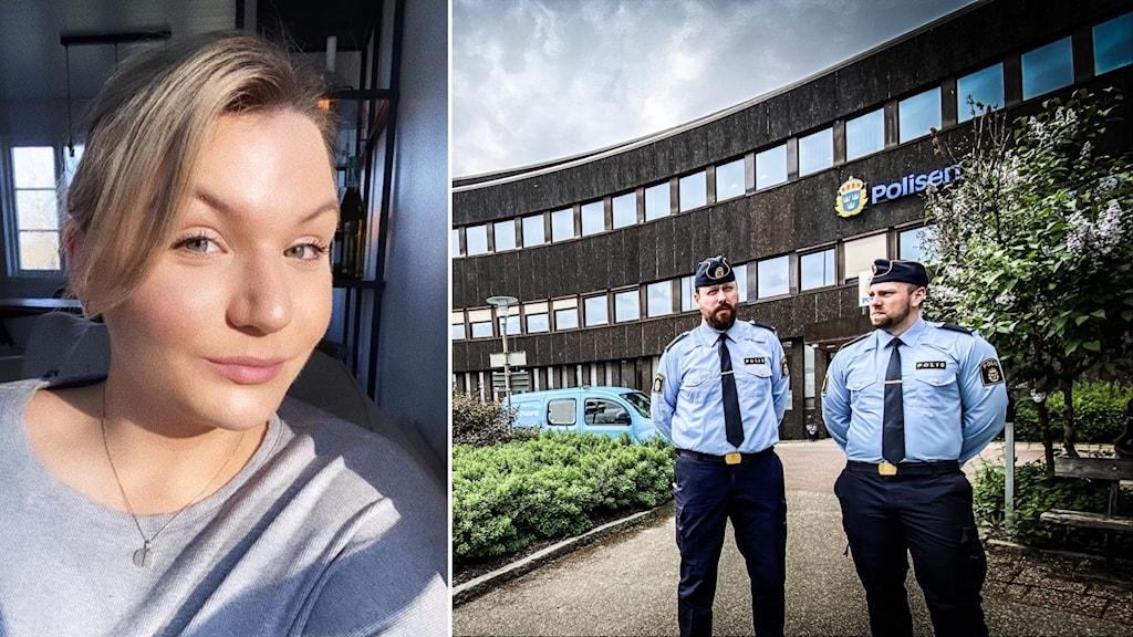 En kvinna med grå tröja till vänster. Två poliser framför en brun byggnad till höger.