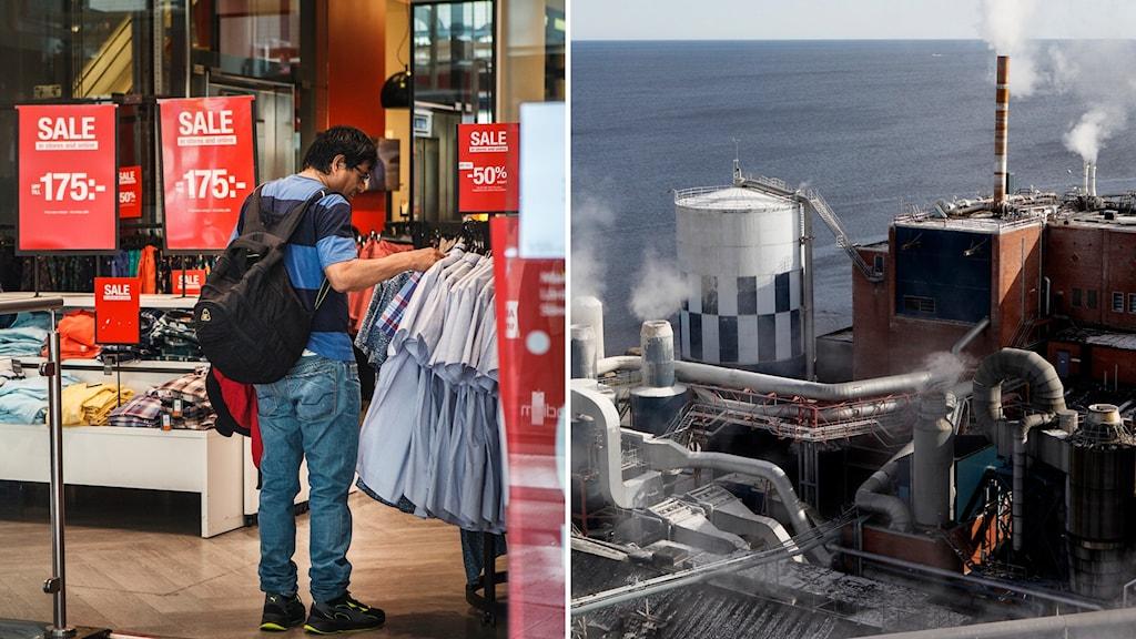 Två delad bild. Man som handlar i klädbutik och Vallviks bruk utanför Söderhamn