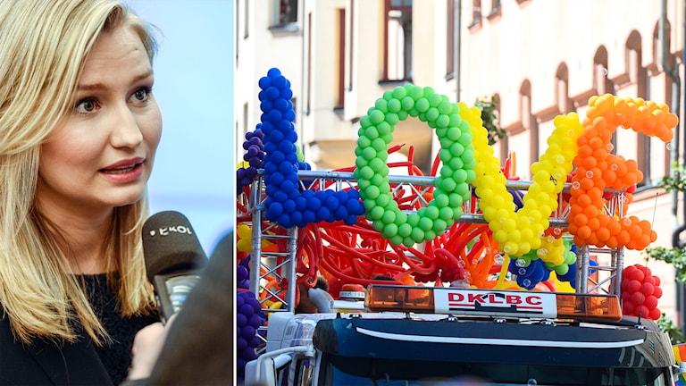 Delad bild: Ebba Busch Thor och ballonger som bildar ordet love