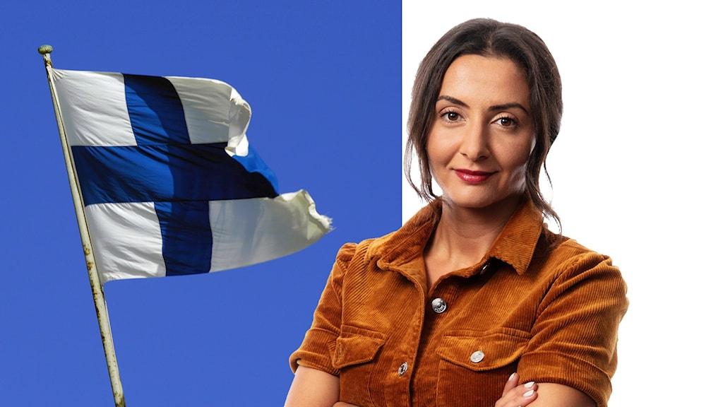 Lubna El-Shanti i montage med finsk flagga.