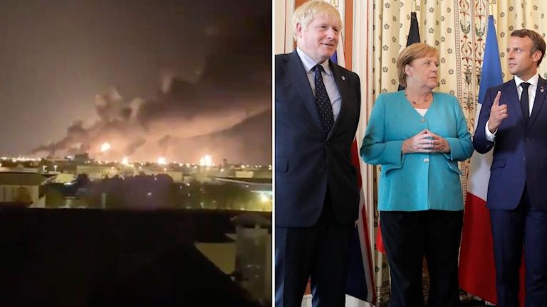 Bild från brinnande oljeanläggningar och bild på Storbritanniens Boris Johnson, Tysklands Angela Merkel och Frankrikes Emmanuel Macron.