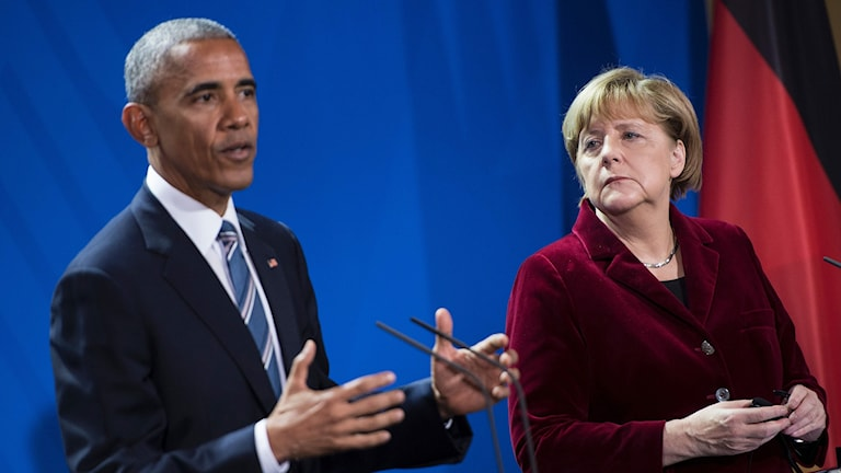 President Barack Obama och Tysklands förbundskansler Angela Merkel.