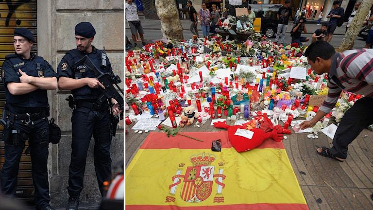 Bildkollage med beväpnade poliser och en man som sätter ett ljud vid en spansk flagga