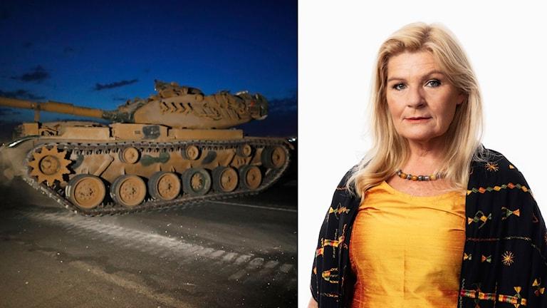 Kollage av ett turkiskt militärfordon och Ekots korrespondent Cecilia Uddén.