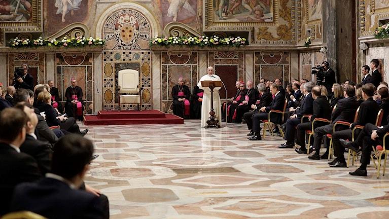 EU-ledare i audiens hos påven.