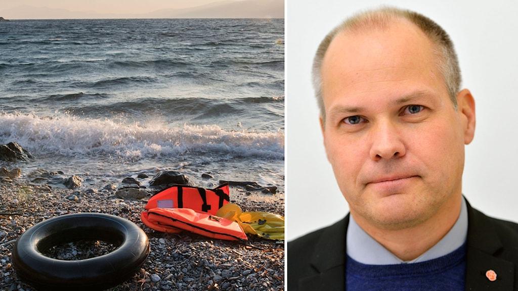 Bild av flyktingbåt vid Medelhavet och Sveriges migrationsminister Morgan Johansson, Socialdemokraterna.