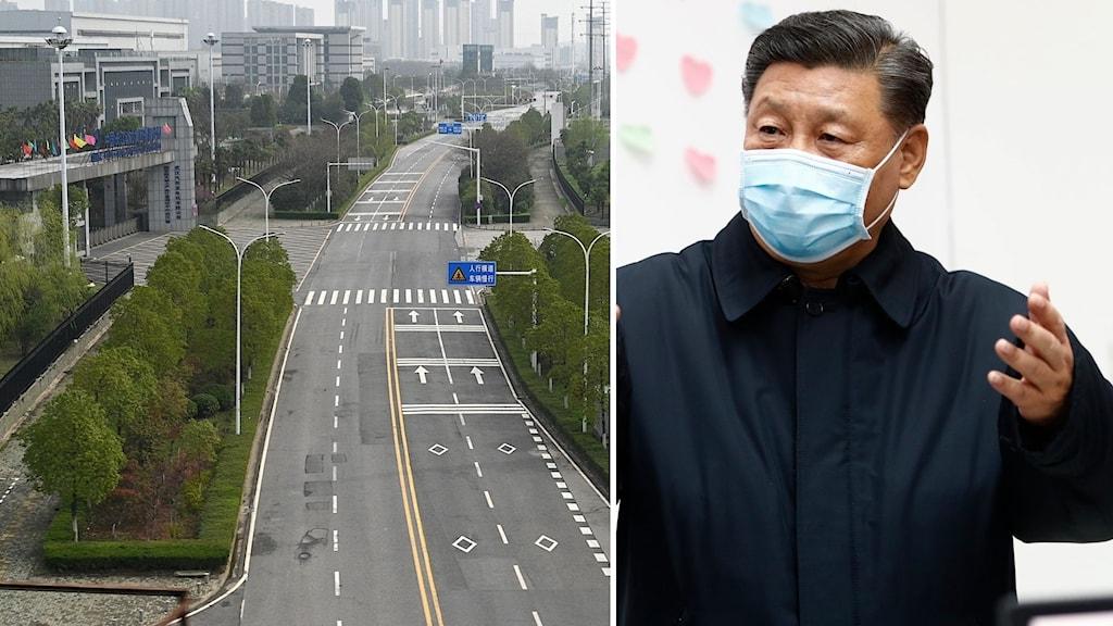 Kinas högste ledare Xi Jinping besökte i dag för första gången Wuhan, staden där coronavirusutbrottet startade i december.