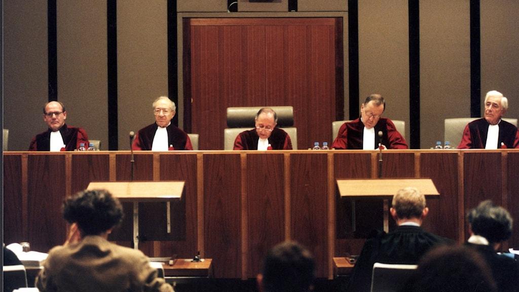 EU-domstolen i Luxemburg. Muntlig förhandling i grande salle, förhandlingssalen.
