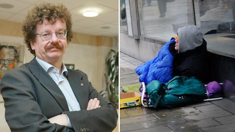 Lars stjernkvist, ordförande i Norrköpings kommunstyrelse och en bild på en hemlös man.