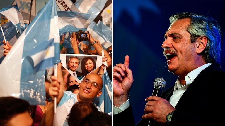Alberto Fernández-supportrar och oppositionskandidaten själv.