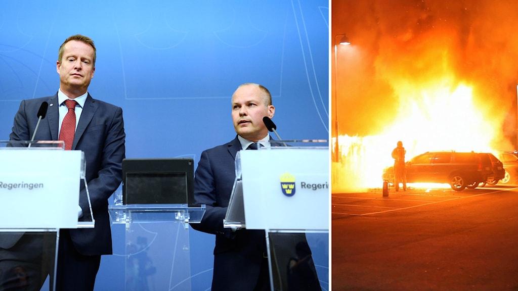 Johansson (S) och Ygeman (S) håller presskonferens i montage med bilbrand
