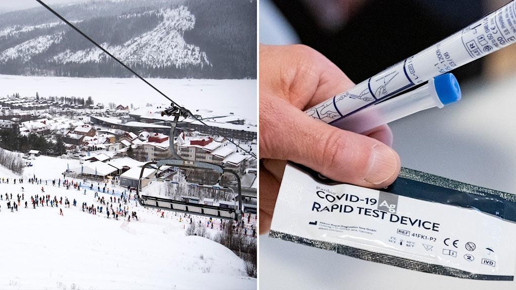 Delad bild: Skidlift och utsikt över Åre, testkit för covid-19.