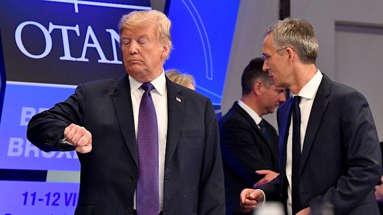 Trump kollar på klockan