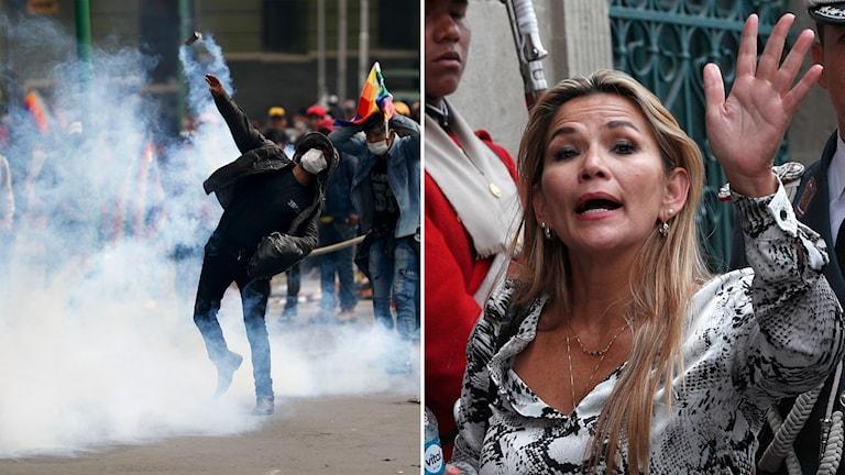 Till vänster: demonstranter i La Paz på onsdagen. Till höger: senatorn Jeanine Áñez som svurit in sig själv som president.