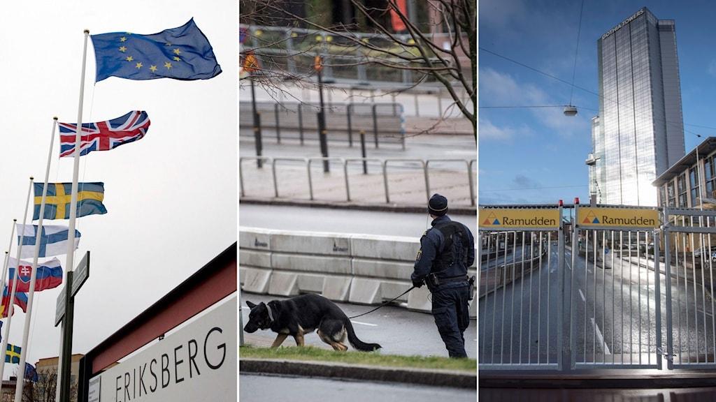 Flaggor på rad. Polis med polishund utanför avspärrningar. Svenska mässan.