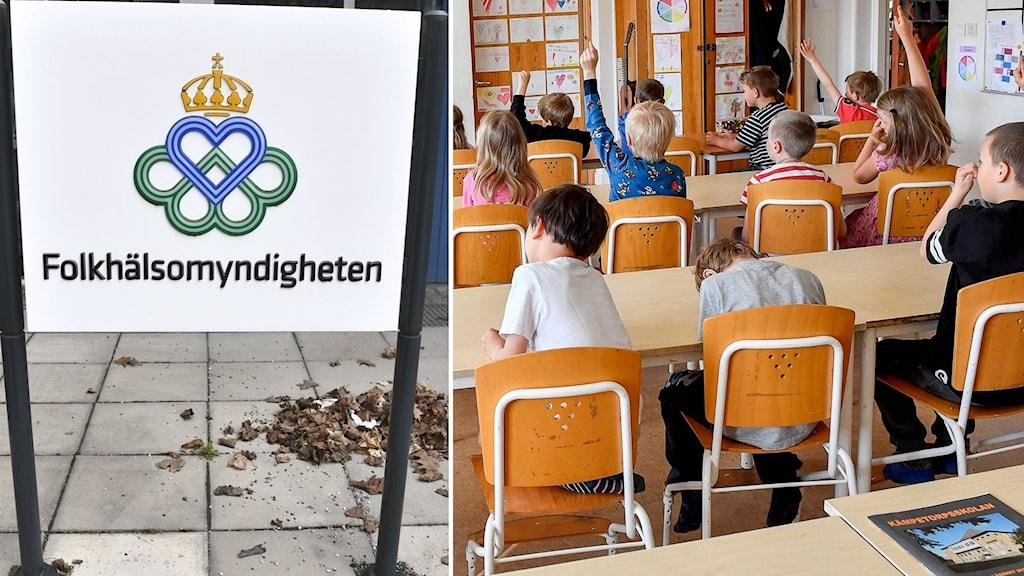 Folkhälsomyndigheten och klassrum.