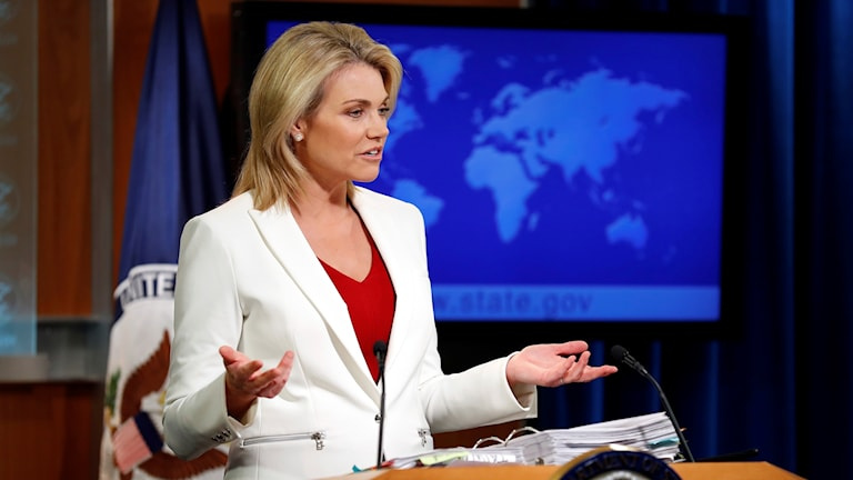 Utrikesdepartementets presstaleskvinna Heather Nauert