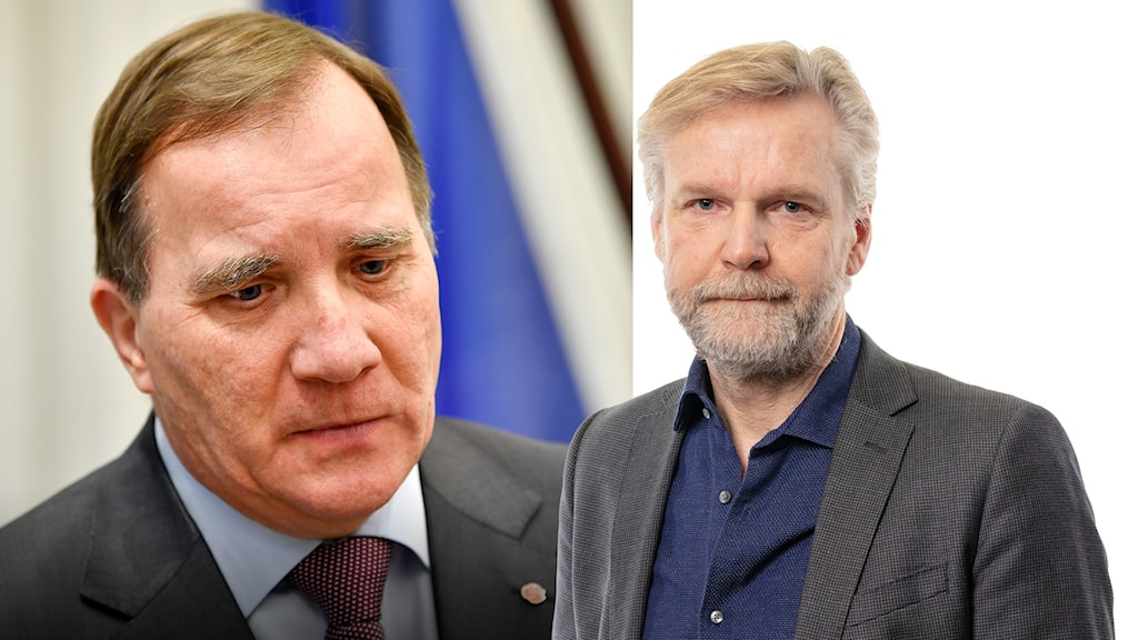 Delad bild. Statsminister Stefan Löfven och Ekots inrikespolitiska kommentator Tomas Ramberg