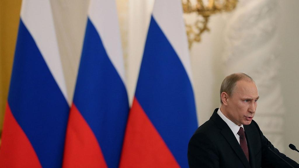 Putin talar vid ryska flaggor
