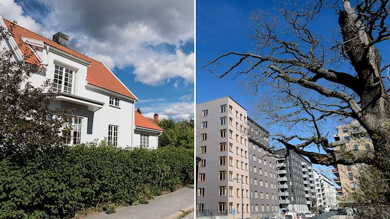 Delad bild: Villa och hus med bostadsrätter.