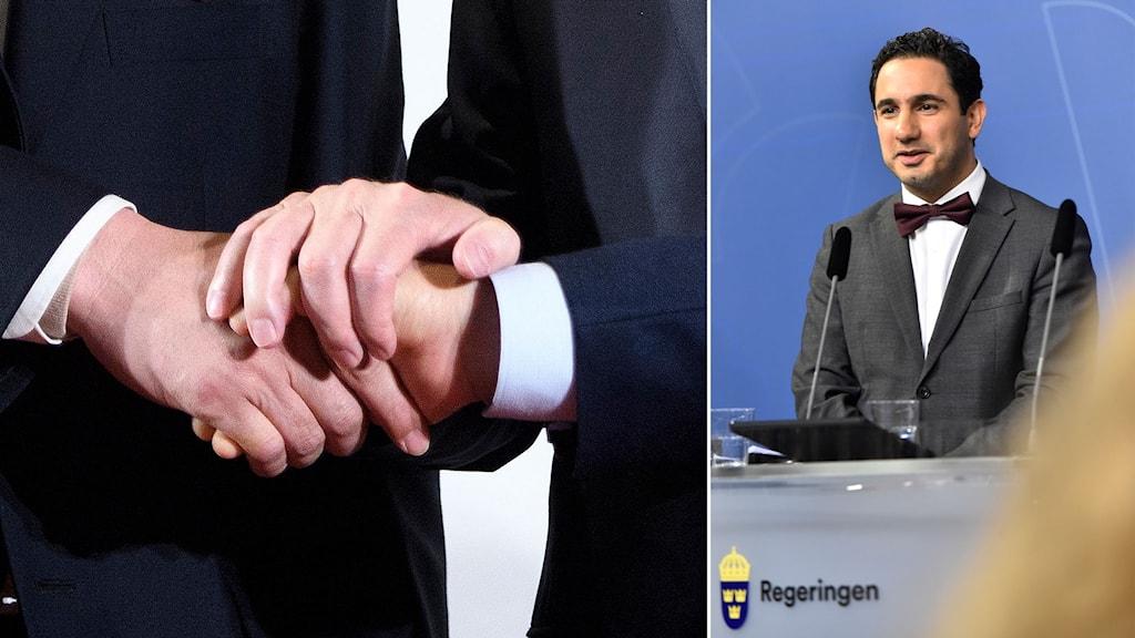 Handslag och civilminister Ardalan Shekarabi