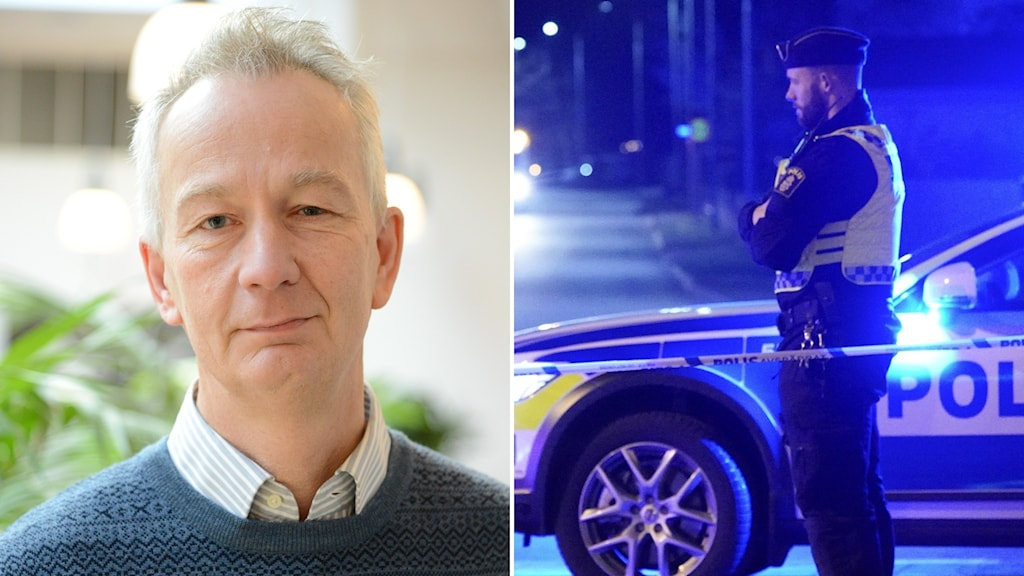 Johannes Paulson och en polis utanför sin bil.