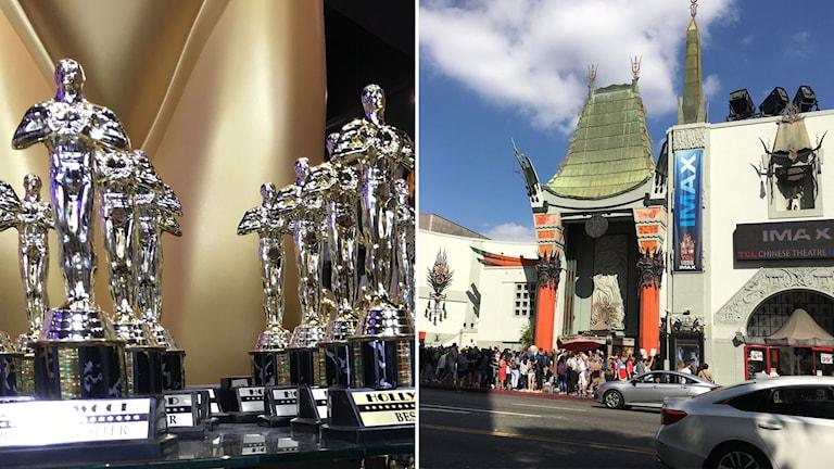 Oscars-statyetter och kinesisk biosalong i Los Angeles.