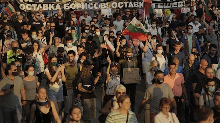 Protester i Bulgariens huvudstad Sofia.