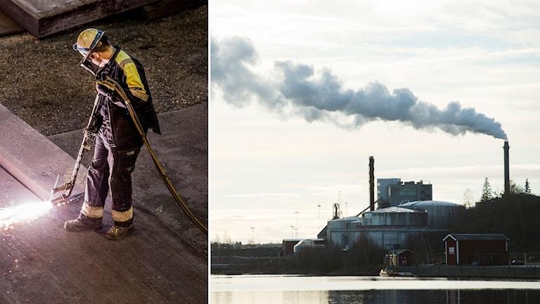 Stålarbetare och rök ur fabriksskorsten