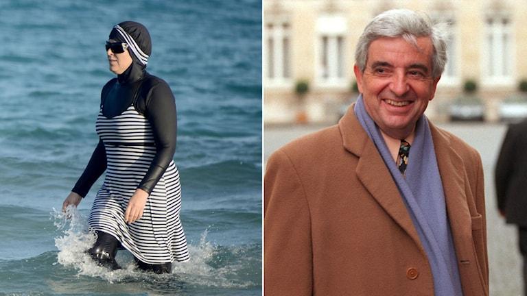 Kvinna iklädd en burkini går i havet. Den tidigare ministern Jean Pierre Chevenement.