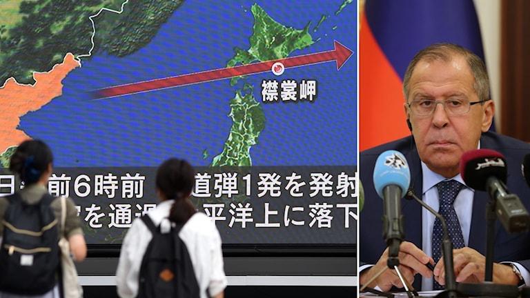 Bildkollage med en tv-skärm som visar färdvägen för en raket från Nordkorea och en man på en presskonferens.