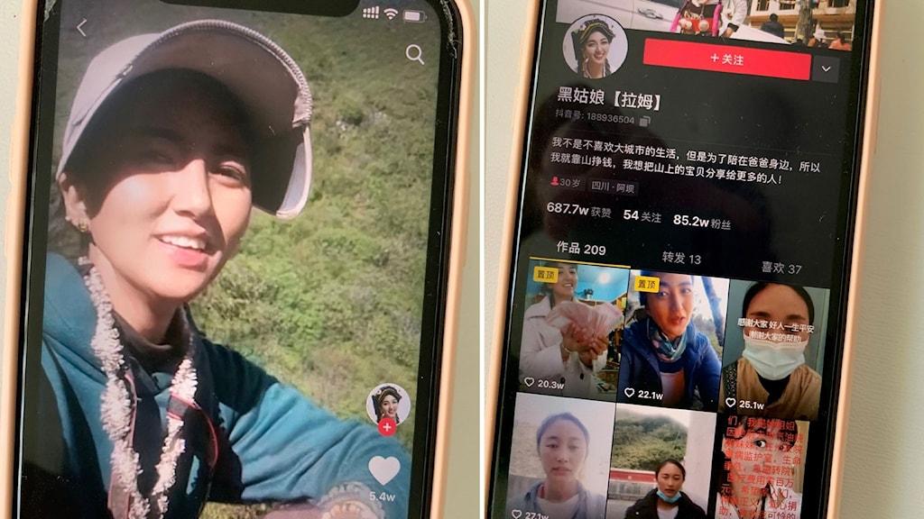 Videobloggaren Lamus konto på kinesiska sociala medieplattformen Douyin.