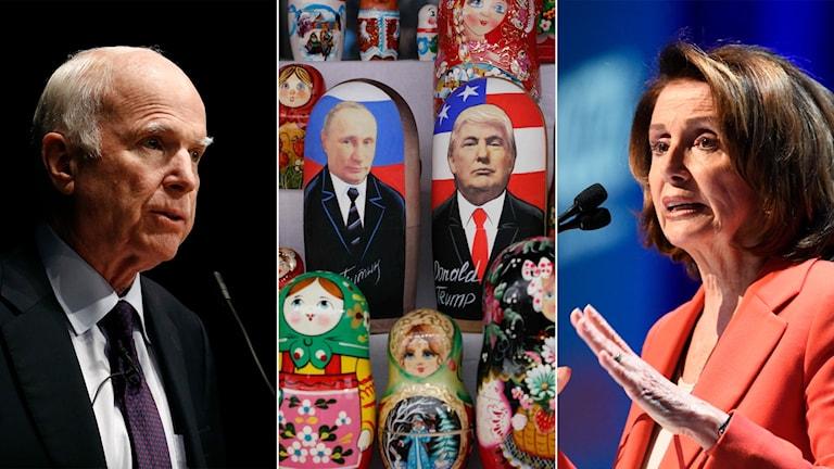 Tredelad bild: Man i kostym, ryska dockor med Trump och Putins ansikte på, Kvinna i talarstol.