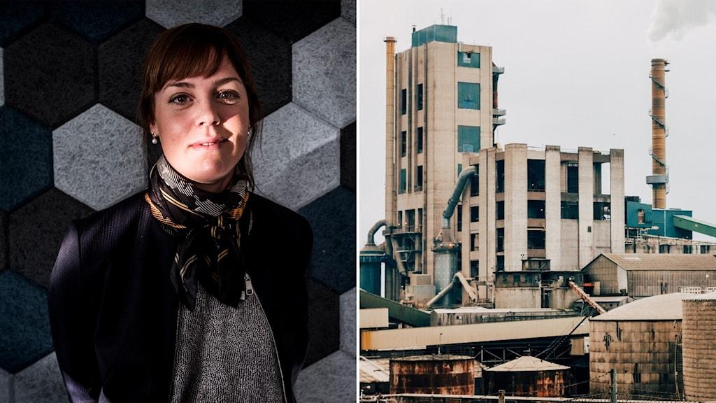 Bilden är tvådelad - en kvinna  till vänster och en fabrik till höger.