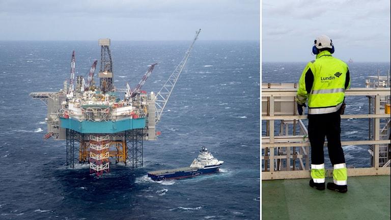 Tvådelad bild: oljeplattform ute på havet, och arbetare står på en plattform, blickar ut över havet