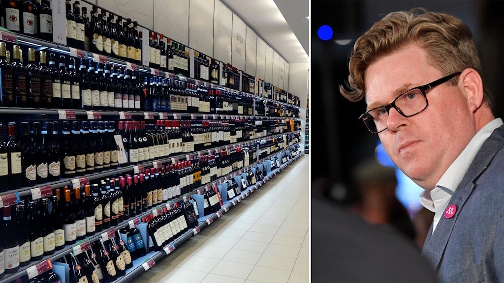Delad bild: Vinflaskor på Systembolaget, man med moderat-knapp.