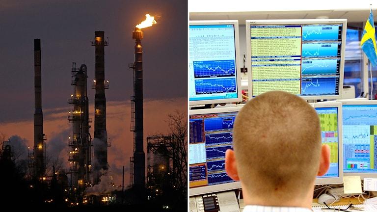 Oljeraffinaderi och man bakom flera börsskärmar.